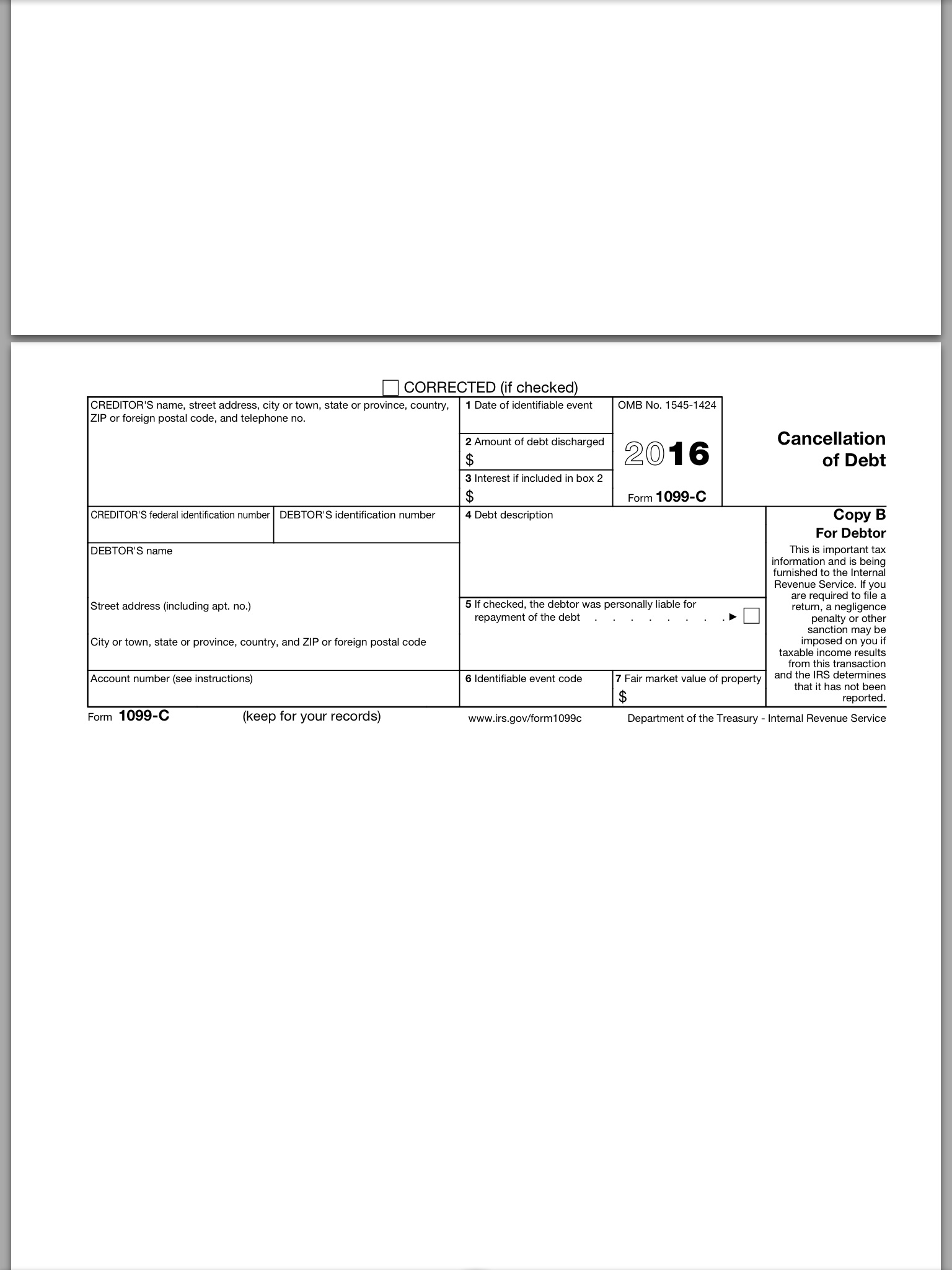 Form 1099 C When Forgiving Is Not Divine Part One Currytakeaways
